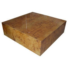 1960's Burl Wood Square Coffee Table By Milo Baughman