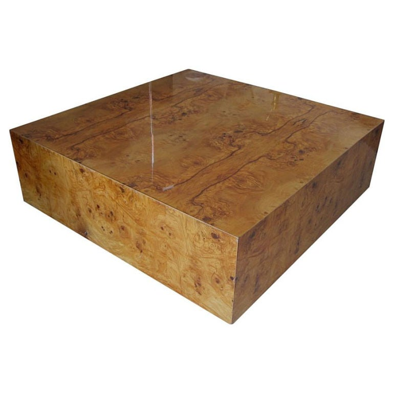 1960 39 s burl wood square coffee table by milo baughman at 1stdibs Wood square coffee tables