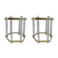 Pair of 1970's Lucite, Brass & Glass Side Tables