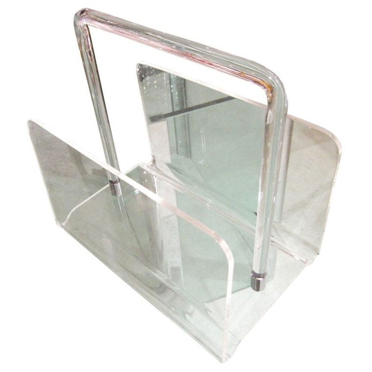 Lucite Magazine Holder By Charles Hollis Jones At 40stdibs Interesting Lucite Magazine Holder