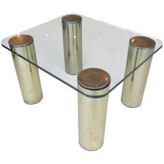 Brass and Glass Table with Cylindrical Legs by Pace Collection