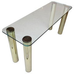 Glass and Brass Console with Cylindrical Legs by Pace Collection