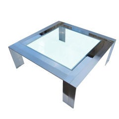 Table Made of Brushed Steel and Nickel by Elaine Cohen for DIA