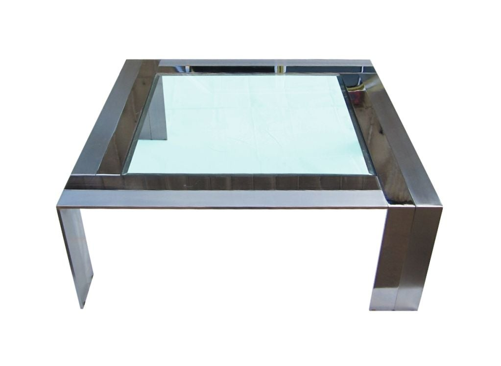 Table Made Of Brushed Steel And Nickel By Elaine Cohen For DIA 2
