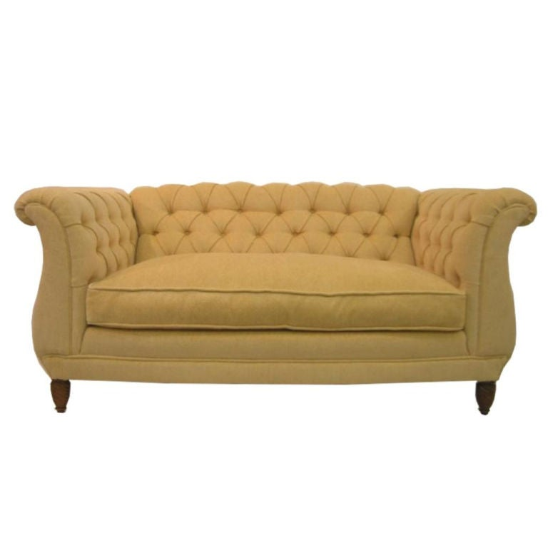 Chesterfield Sofa Uphosltered in Down Filled Yellow Chenille at