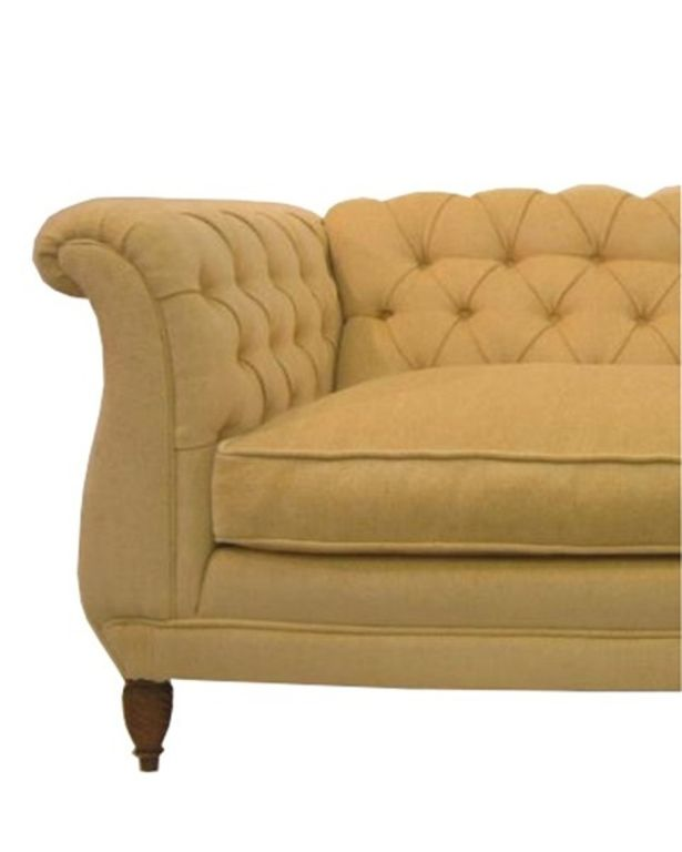 Chesterfield Sofa Uphosltered in Down Filled Yellow Chenille image 3