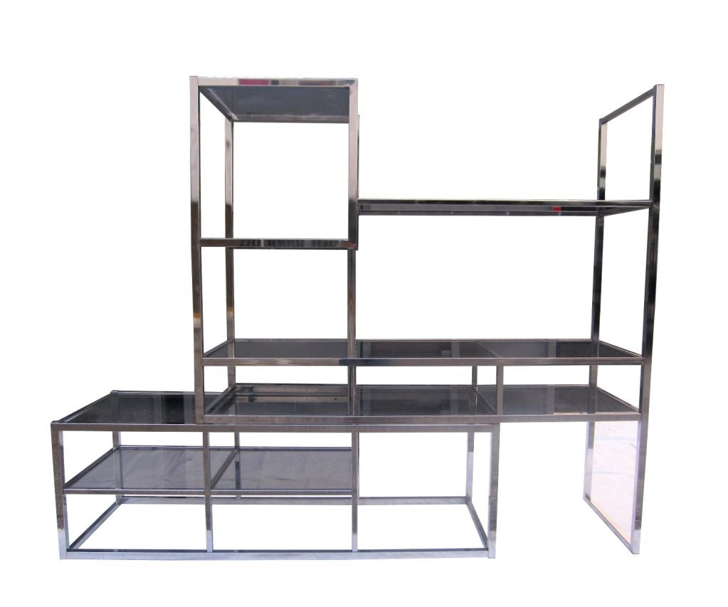 one of a kind expandable chrome and glass etagere circa 1970 39 s at 1stdibs. Black Bedroom Furniture Sets. Home Design Ideas