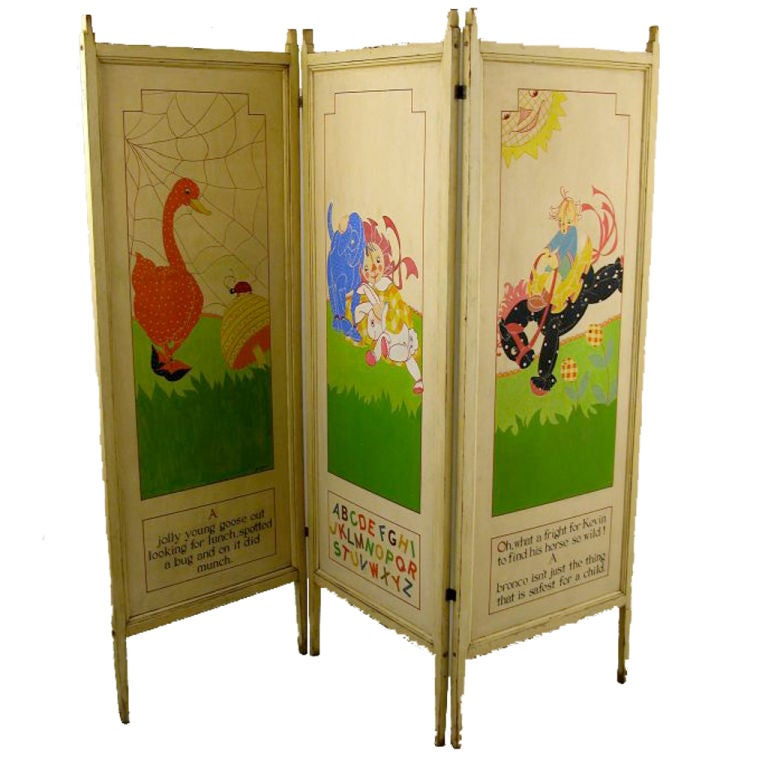 Nursery Rhymes Hand-Painted Screen 1