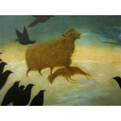 Sheep and Crows Folk Art Painting