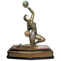 Art Deco Bronze Female Juggler Sculpture By Claire Colinet