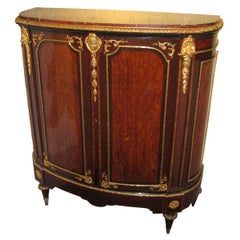 French Louis XVI Style Demilune Side Cabinet with Marble Top