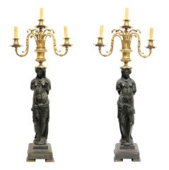 Pair of Tall Bronze Neoclassical Figural Candelabra Lamps