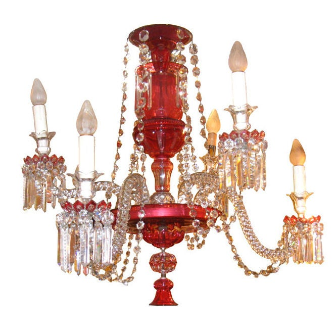 Antique Ruby Red Glass Chandelier For Sale At 1stdibs