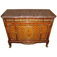 Finest Quality Louis XVI Style Marquetry Ormolu-Mounted Tall Marble-Top Commode
