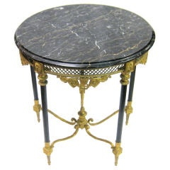 Neoclassical Gilt Bronze and Black Marble Top Center Table