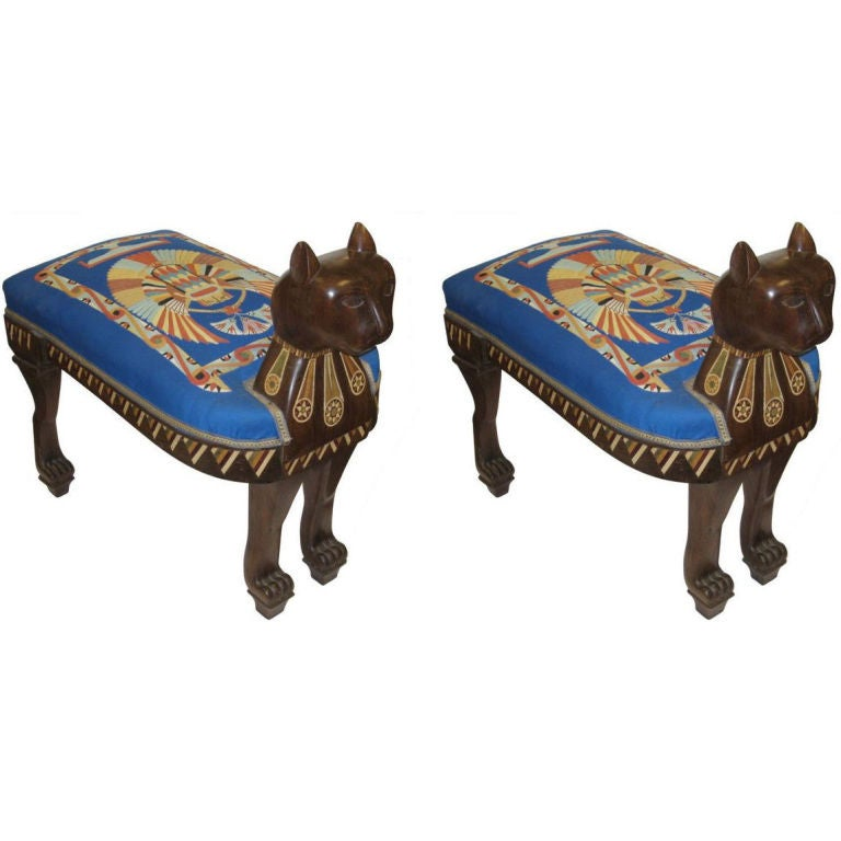Pair Of Vintage Upholstered And Inlaid Neo Egyptian Stools