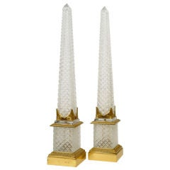 Pair of Large French Empire Style Cut Crystal Obelisks