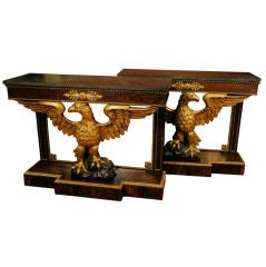 Pair of Regency Revival Pier Tables with Carved Eagles