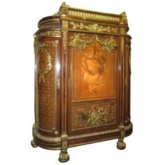 Very Important Palace Size Louis XVI Style Marquetry Parquetry Tall Commode