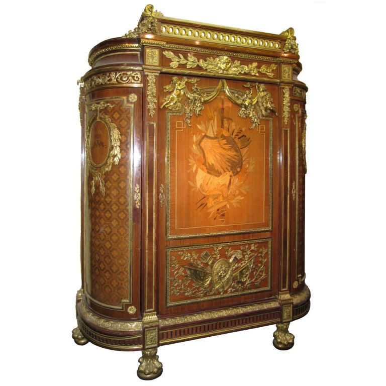 Very Important Palace Size Louis XVI Style Marquetry Parquetry Tall Commode 1