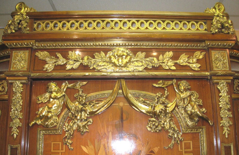 Very Important Palace Size Louis XVI Style Marquetry Parquetry Tall Commode 2
