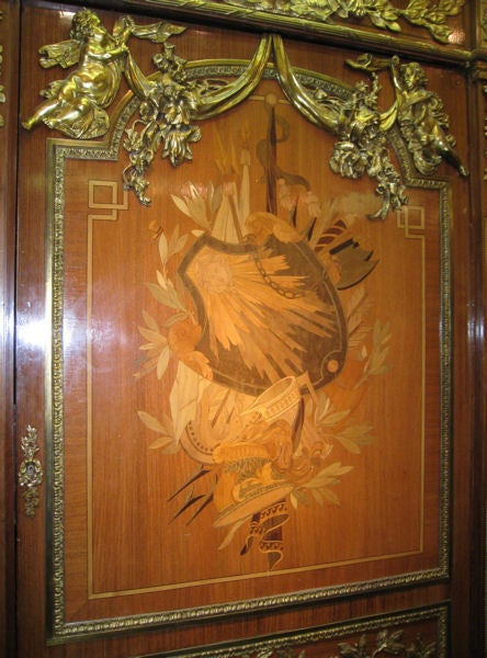 Very Important Palace Size Louis XVI Style Marquetry Parquetry Tall Commode 3