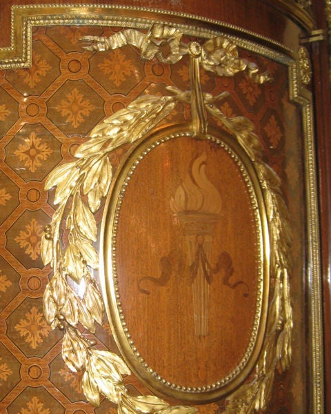 Very Important Palace Size Louis XVI Style Marquetry Parquetry Tall Commode 10