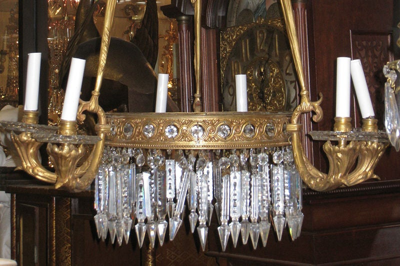 Antique French Empire Style Bronze Chandelier In Good Condition For Sale In New York, NY