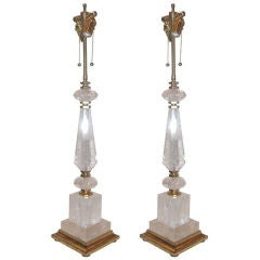 Pair of Tall Rock Crystal Table Lamps with Giltwood Base