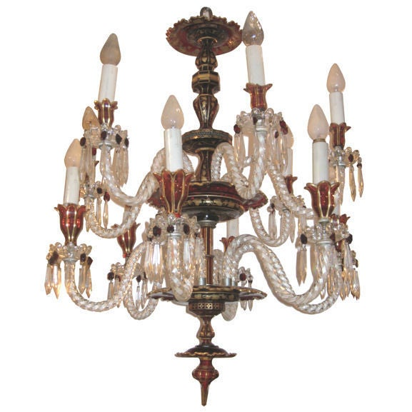 Bohemian Ruby Red Glass Chandelier at 1stdibs – Bohemian Glass Chandelier