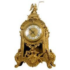 Antique Palace Size Louis XIV Style Ormolu Bronze Figural Mantel Clock
