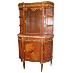 Antique Louis XVI Revival Marquetry Display Cabinet