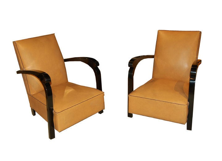 French Art Deco Club Chairs - a pair of brown leather and ebony trimmed club chairs with original leather.