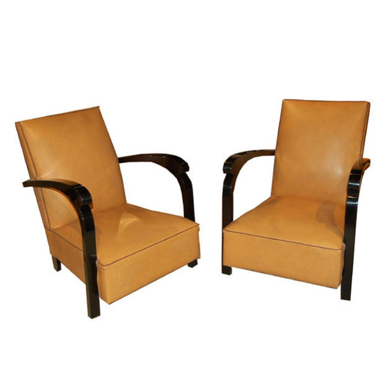 Pair of French Art Deco Club Chairs For Sale