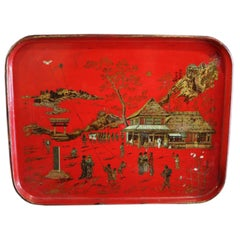 Red Lacquered Chinoiserie Tray of Papier Mâché