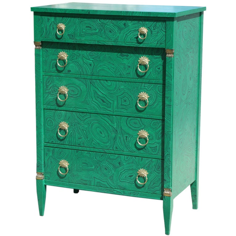1940s Faux Malachite Chest of Drawers