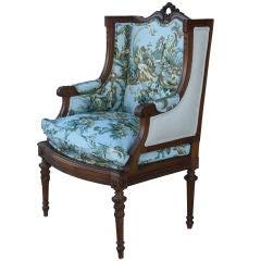 Vintage Louis XVI Style Wingback Armchair