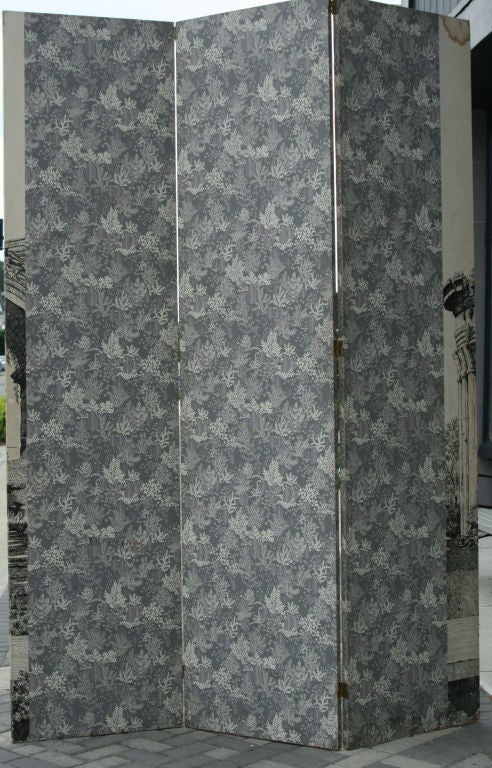 Large 1940s Italian Lithographed Wallpaper Screen 4