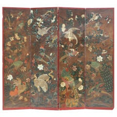 Antique Chinoiserie Handpainted 4 panel Screen
