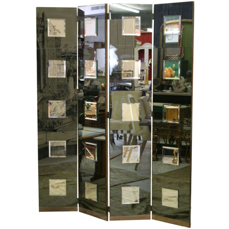 1940s Hollywood Style Smokey Mirrored Screen 1