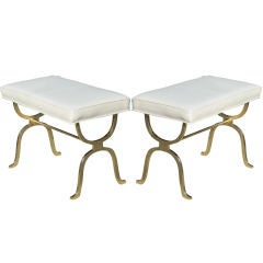 Pair of White Leather & Gilt Iron Benches