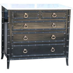 Polished Black Lacquer Faux Bamboo Dresser