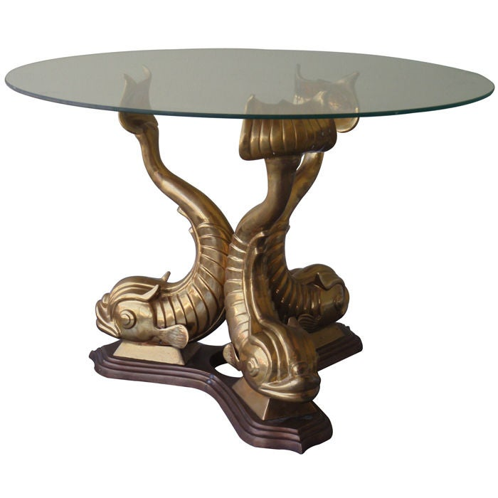 Vintage French Bronze Dolphin Table At 1stdibs