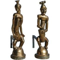 Hagenauer Style Bronze Nubian Andirons