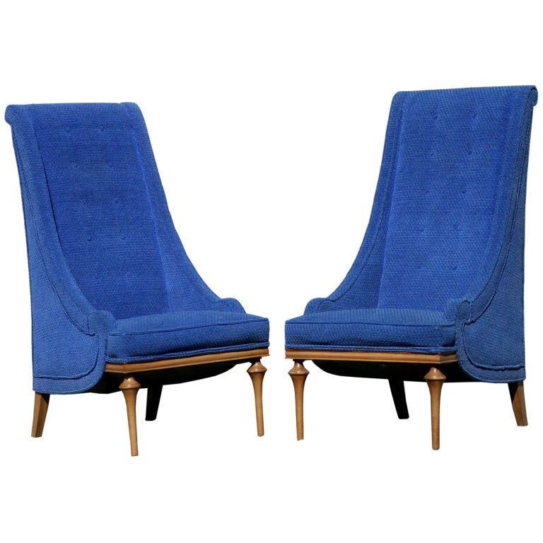Pair of 1960s regency style overscaled highback slipper for Sixties style chairs