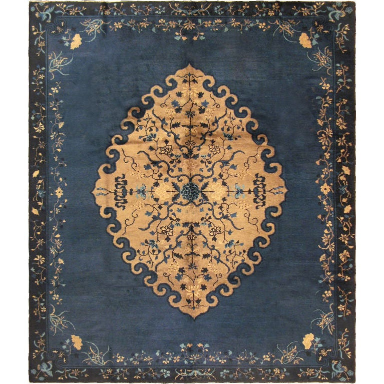 Antique Chinese Rug: Antique Chinese Peking Rug With Blue And Gold For Sale At