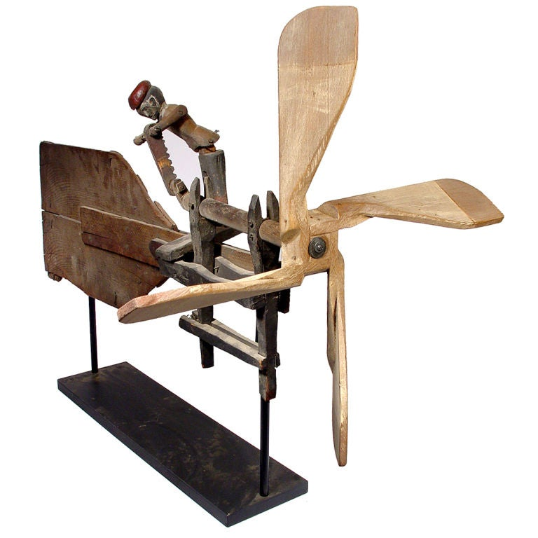 Vintage Wooden Weathervanes: Early Folk Art Whirligig- Articulated Worker Sawing Wood
