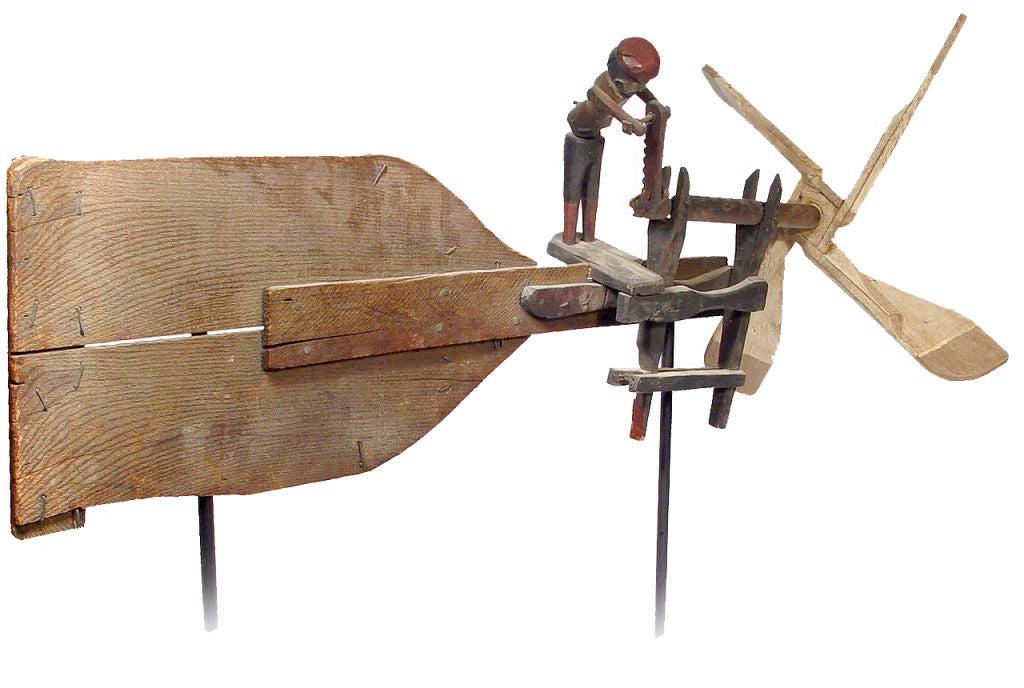 Antique primitive furniture - Early Folk Art Whirligig Articulated Worker Sawing Wood