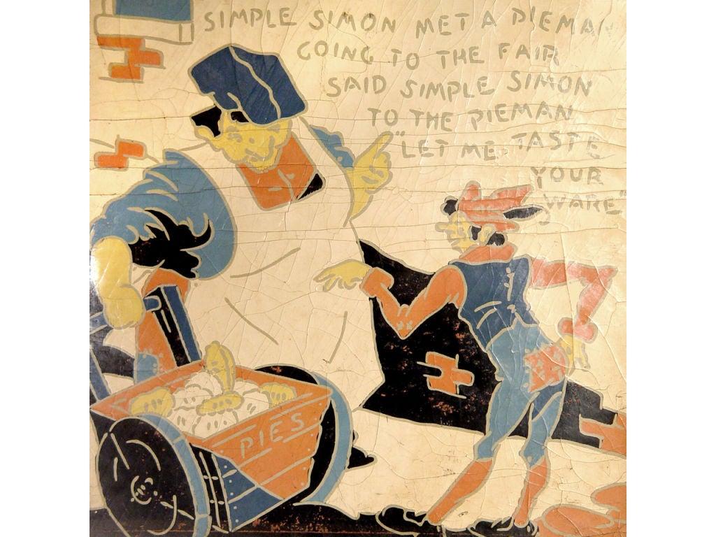 5 Rare Linoleum Nursery Rhyme Panels 2