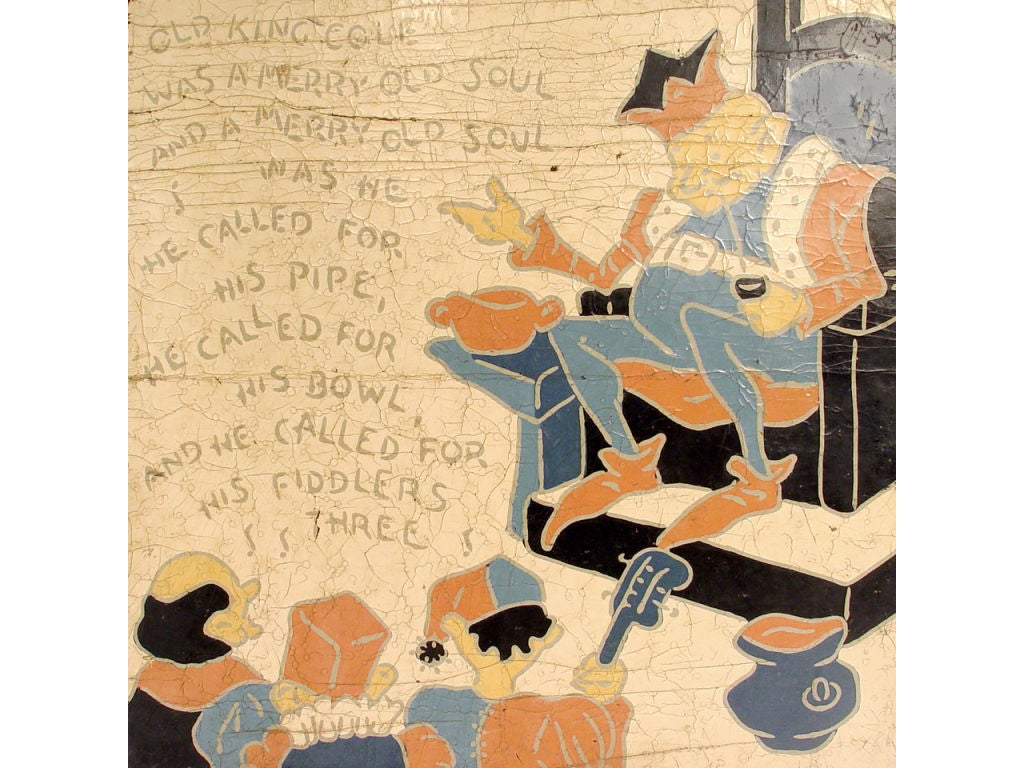 Mid-20th Century 5 Rare Linoleum Nursery Rhyme Panels For Sale